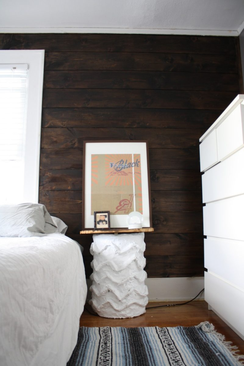 Shiplap stained wall and cb2 bedside table love merrypad Dark brown walls bedroom