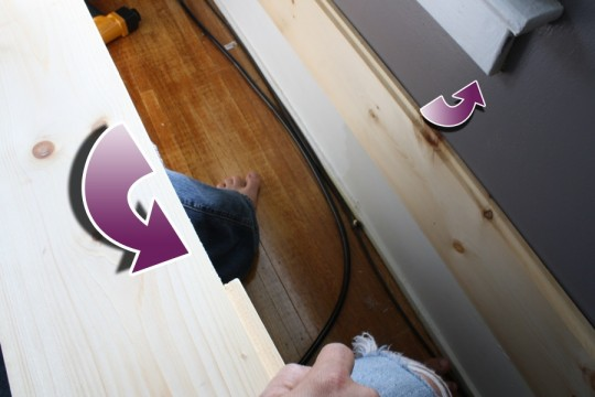 "We cut out the 1/2"" rabbeted edge of one board in order for it to fit under the windowsill seamlessly."