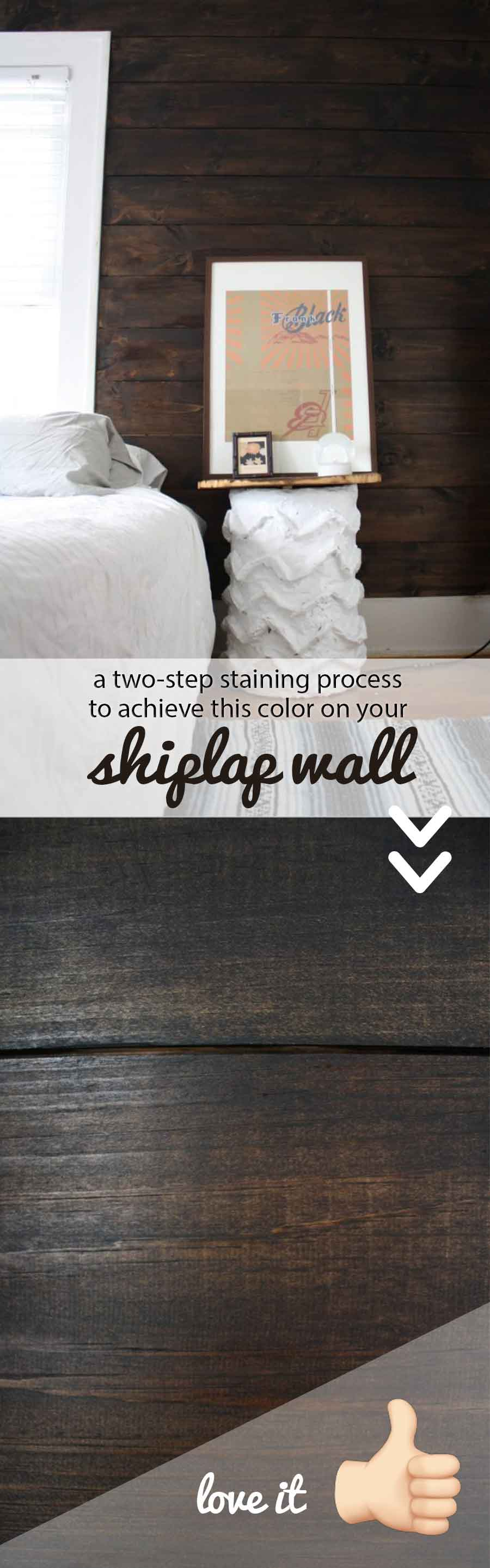 A two-step process to get a rich, dark mocha stain on shiplap boards.