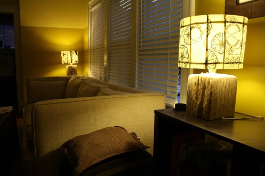Cozy, matchy living room lamps.