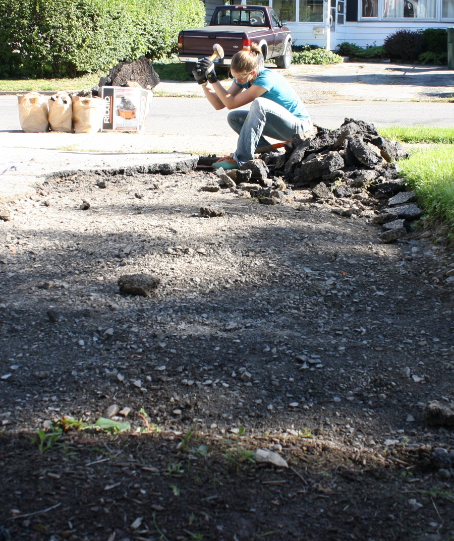Diy removing driveway asphalt merrypad sit on shovel wedge hammer your little heart out solutioingenieria Image collections