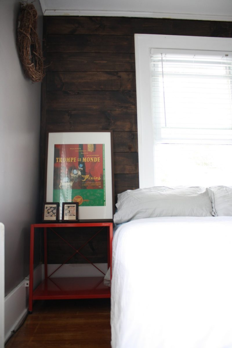 shiplap stained wall and cb2 bedside table love merrypad. Black Bedroom Furniture Sets. Home Design Ideas