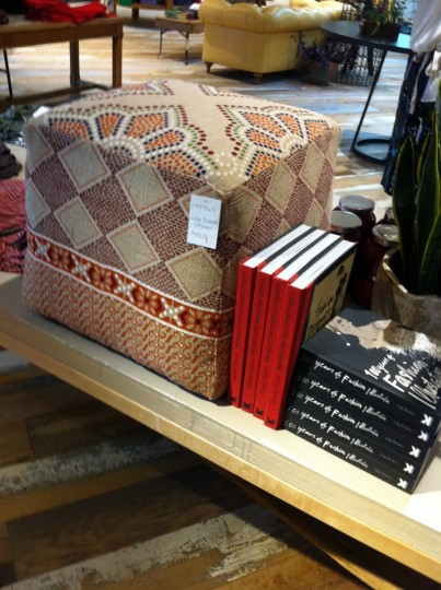 Sneaky, blurry shot in Anthro. Boy, this ottoman makes me happy.