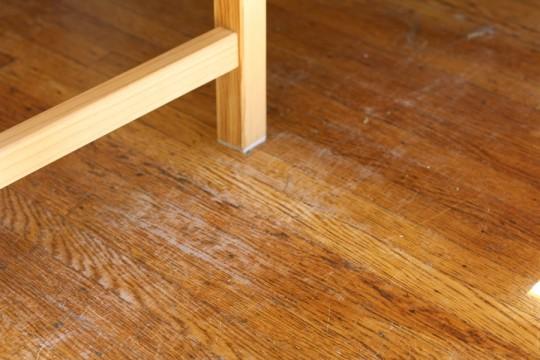 Yow. Wood-on-wood floor scratching.