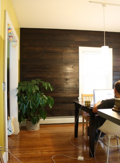 Stained Shiplap Wall Living Room