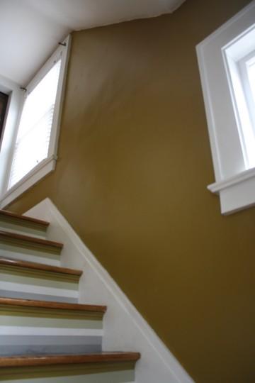 Blank slate in a freshly repainted stairwell.