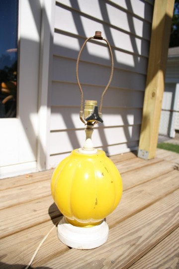 A yellow lamp, salvaged from Charlotte General Store in early summer 2011.