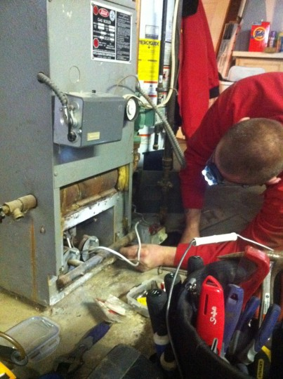 Gas boiler cleaning.