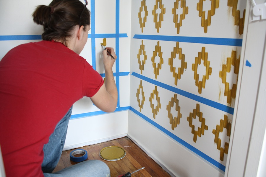 Handpainting an Ikat pattern on a wall; ikat painting DIY.