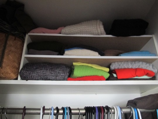 Shoe rack turned adequate sweater storage.