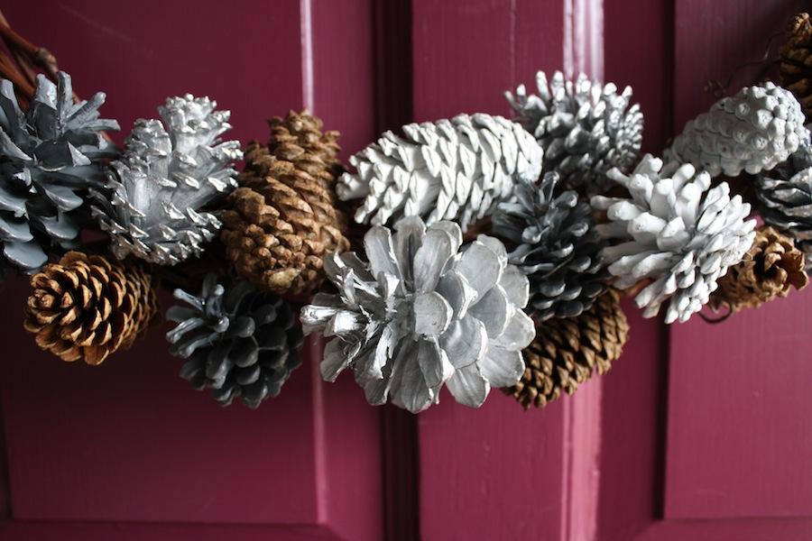 A DIY Painted Pinecone + Grape Vine Wreath
