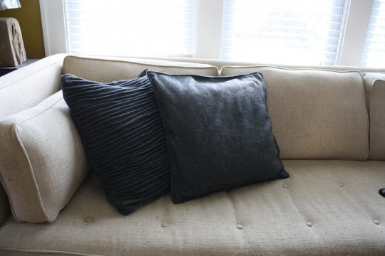 First and second pillows, ornate and simple side-by-side.
