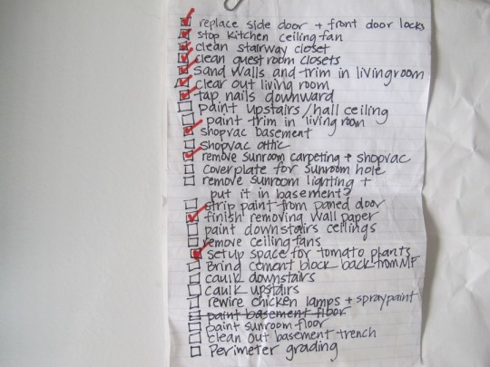 To-do list. Circa May 2009.