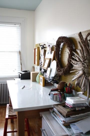 Office desk and plenty of storage sans magnet board.