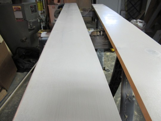 Some of the primed baseboard.