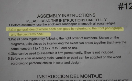 Directions for owl assembly.