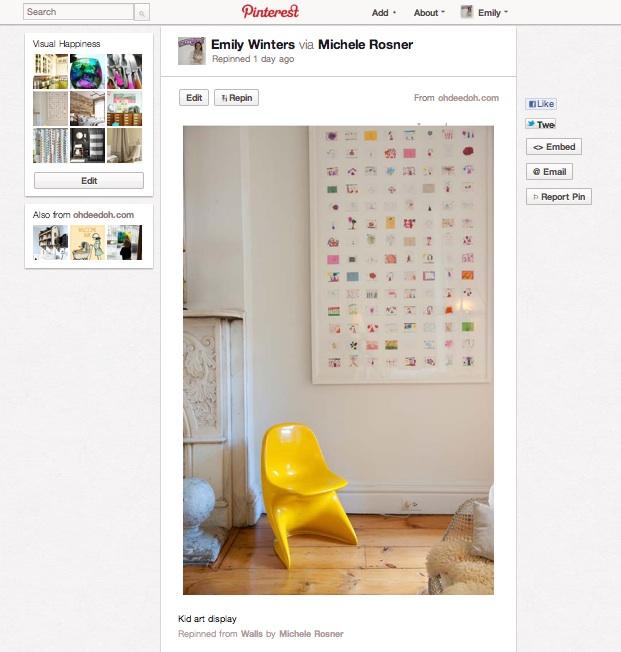 Children's artwork collage, via Apartment Therapy