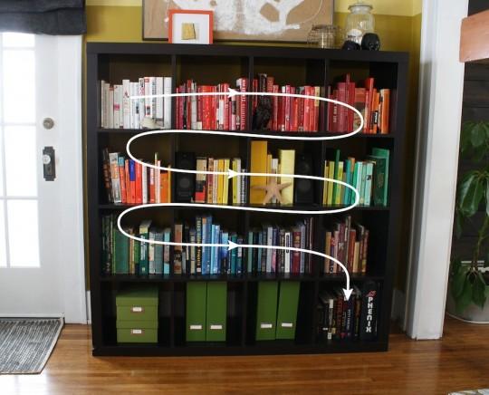 Updated rainbow book storage!