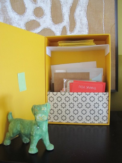 Refinished shoebox. New thank you note storage!