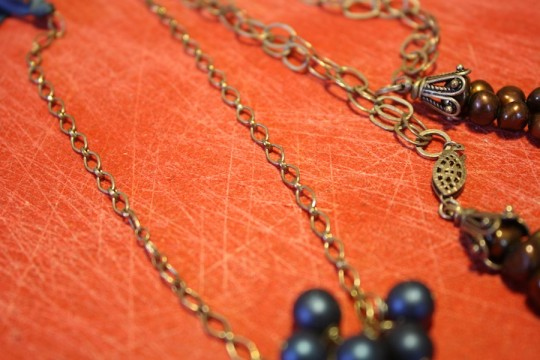Tarnished necklace chains.