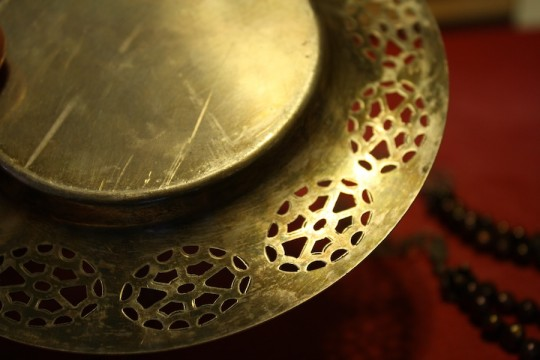 Tarnished silver tray.