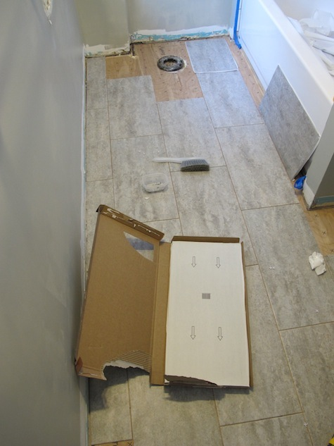 Adhesive Vinyl Bathroom Tile Floor