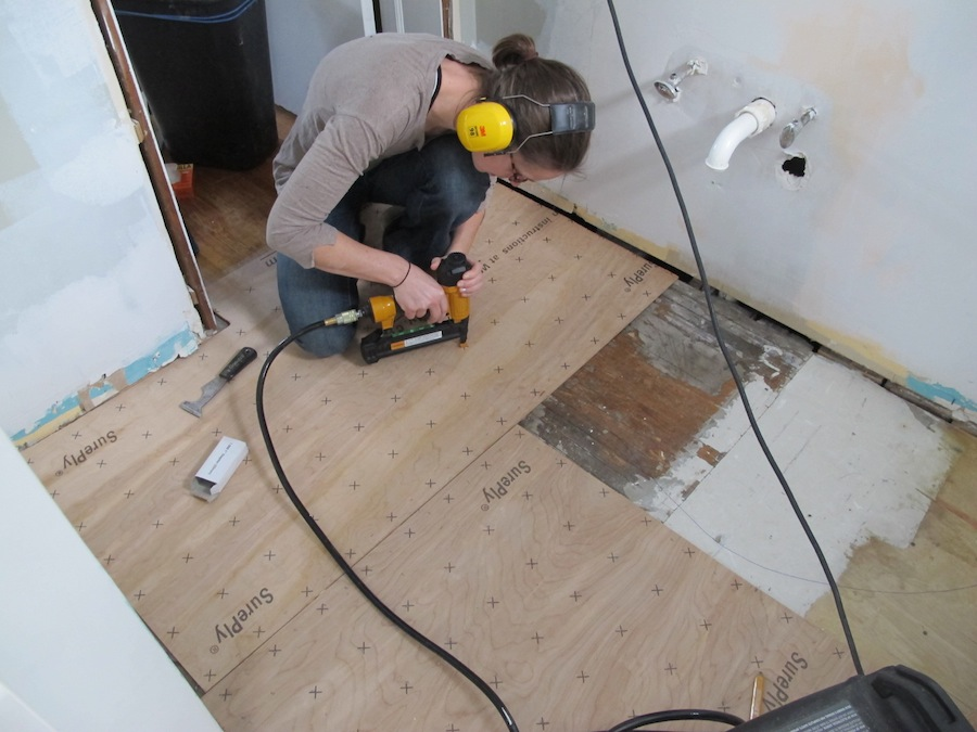 Install bathroom subfloor diy network floors and some for Replace bathroom subfloor