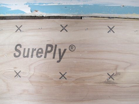 Extra staples in the subfloor during a bathroom remodel.