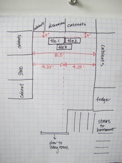 Planning the kitchen floor tile placement.