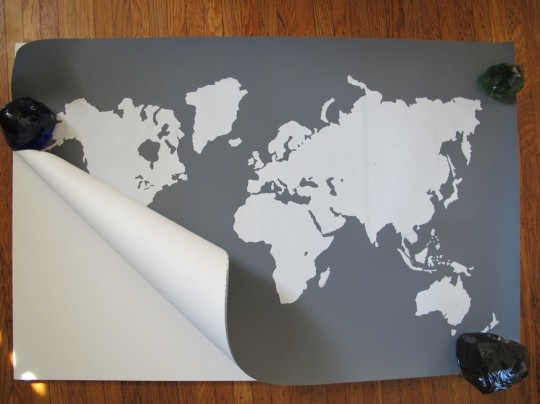 Pretty world map, screen printed by I Screen Your Screen.