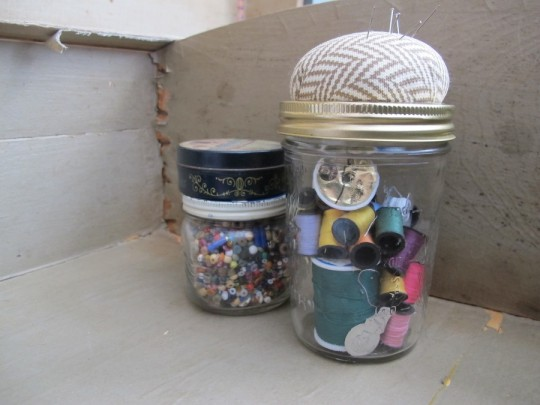 DIY sewing kit storage.