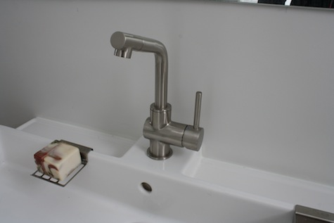 IKEA GRUNDTAL sink faucet modern and hooked up during our bathroom remodel.