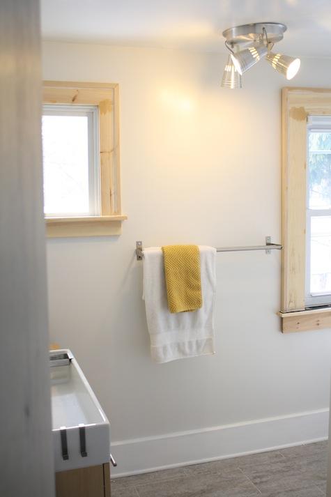 New DIY window trim during a bathroom remodel.