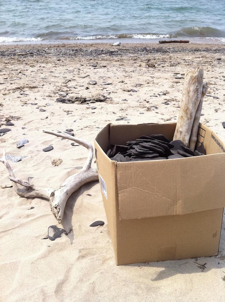 Beach shale collection bin. Summer 2011.