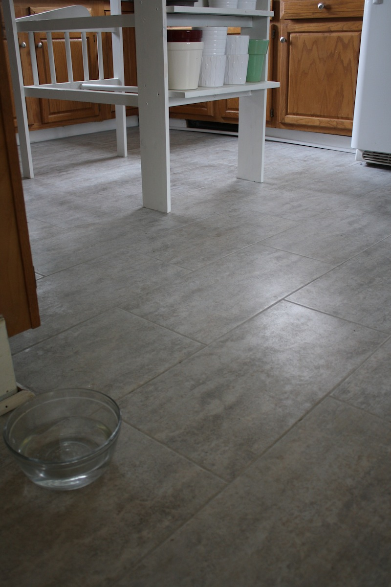 Tips for installing a kitchen vinyl tile floor merrypad the final before and after aw yeah its finally that time dailygadgetfo Gallery