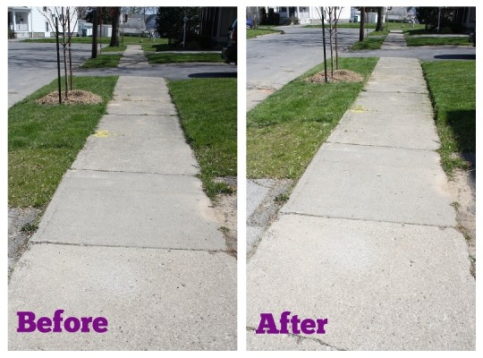 Cleaning up the sidewalk earlier in the season than ever before.