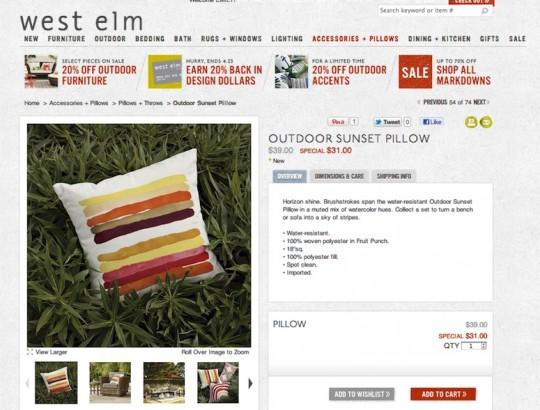 West Elm Sunset Pillow