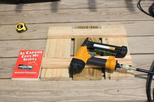 Lumber, nail gun, and reading material to get this project started.