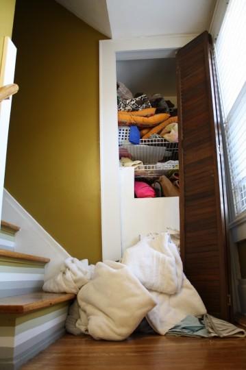 Closet disaster, revealed.