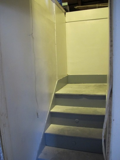 A glossy new attic stairwell.