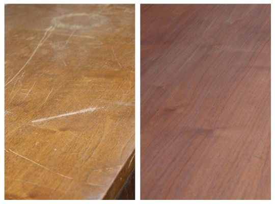 The refinished stained top does not match the original. Whoopsy.