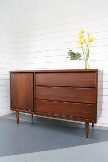Our refinished Bassett mid-century buffet! Complete!