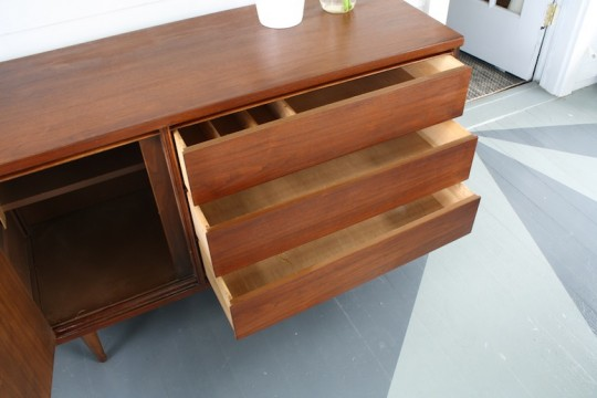 The drawers of our refinished Bassett mid-century buffet! Complete!