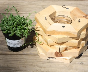 Hexagon hanging planter.