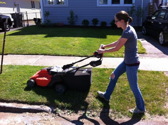 Me, mowing the lawn with my new Black & Decker mower.