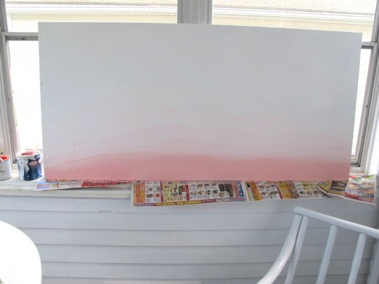 Finishing the ombre layers on the sunroom art.