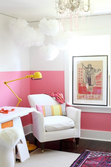 A pretty pink-accented office on Poppytalk.