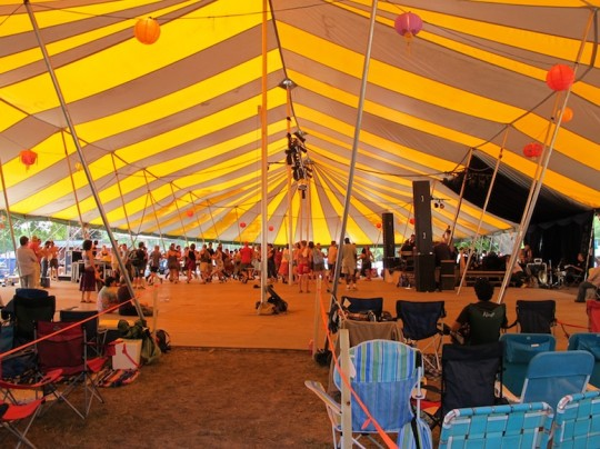 Dancing in the tent during the day at Grassroots.