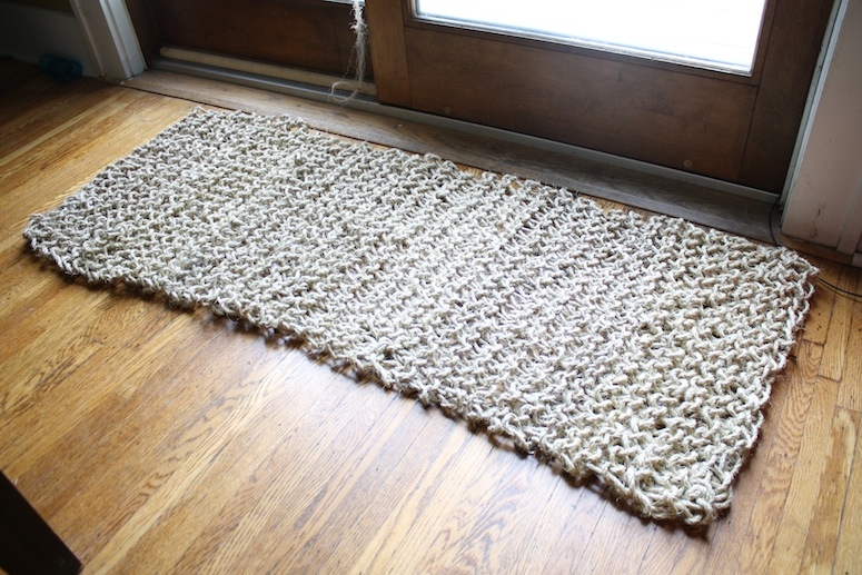 Finished knit sisal rug.