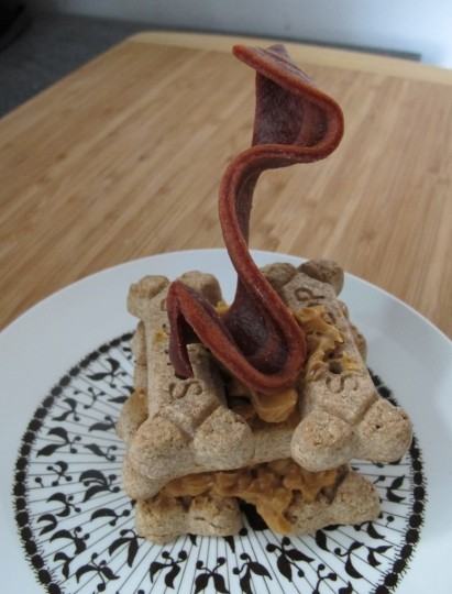 Special dog birthday bone and bacon cake!